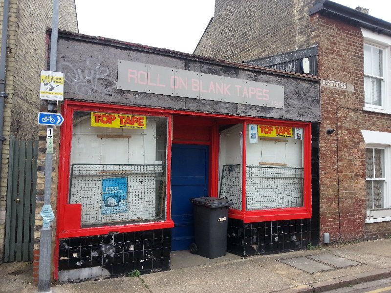 Old tape shop on Gwydir Street at the top of Norfolk Street