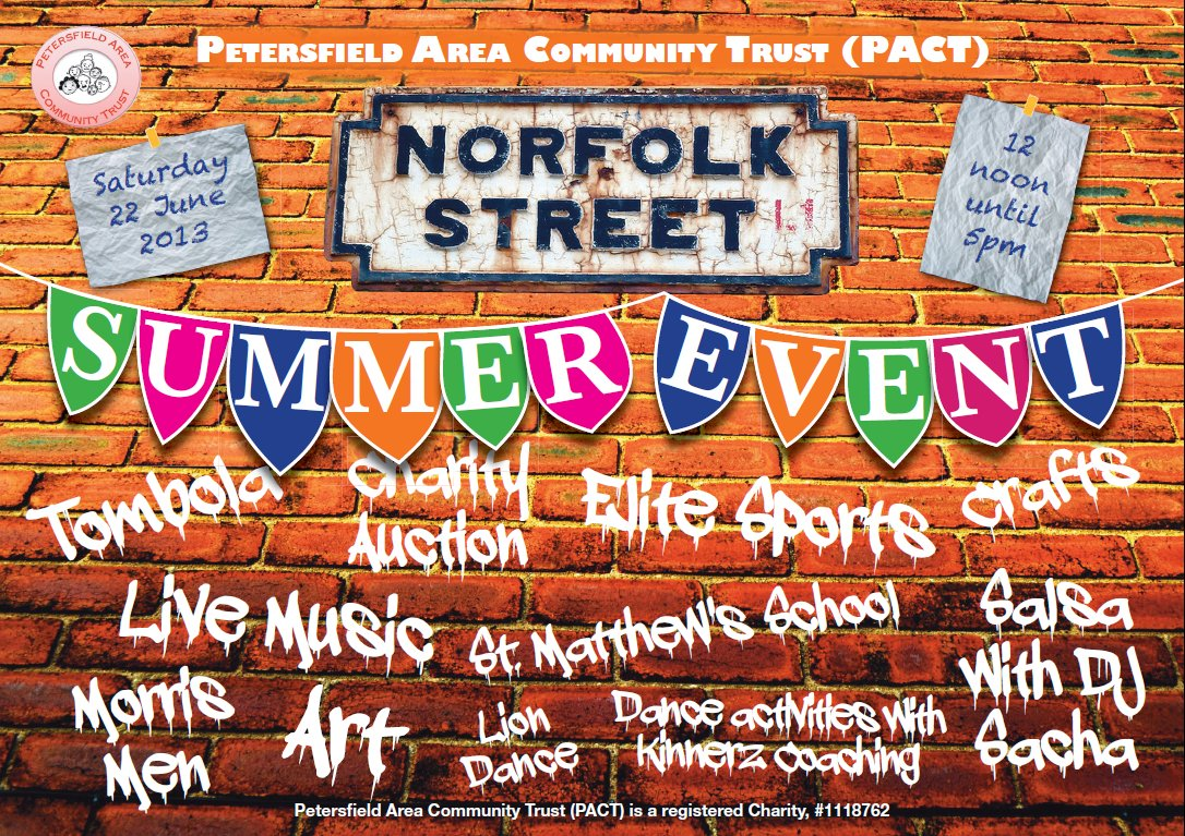 PACT/Norfolk Street Summer Event 2013 poster by Lily Bracey