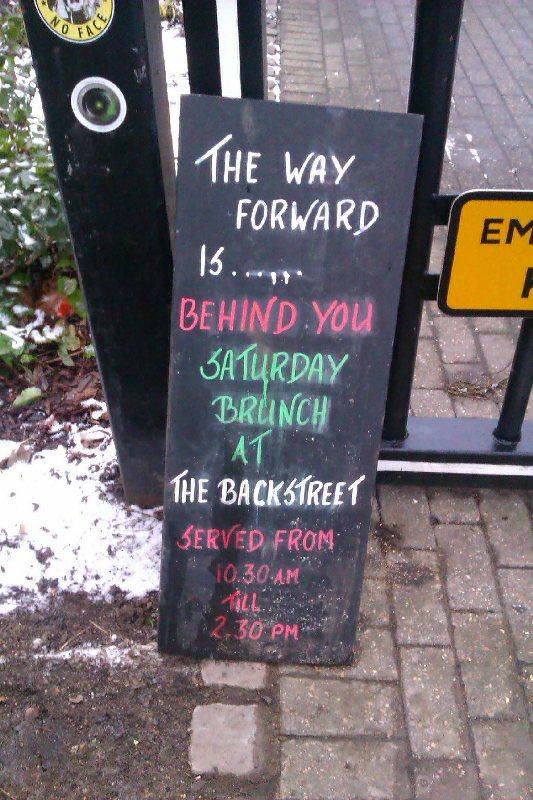 Sturton Street corner Backstreet Bistro advert - Simone
